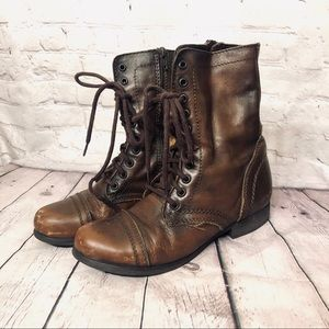 STEVE MADDEN BROWN TROOPA BOOTS SIZE 7.5 LACE UP